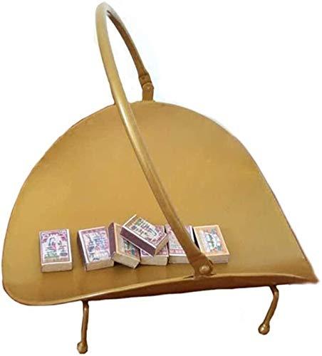 IWQTO Gold Compact Holz Rack-Feuerkorb mit ovaler Basis, pulverbeschichtet Gusseisen Holzständer Holzkorb for offene Kamine, 35cm Hoch (Farbe: Gold) (Color : Gold)