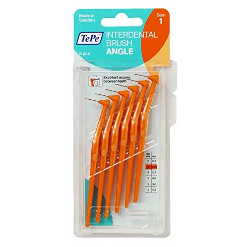 TePe Angle Interdentalbürsten Orange (ISO Größe 1: 0,45 mm) / Kontrollierte Reinigung der Zahnzwischenräume auch an schwer zugänglichen Stellen / 1 x 6 Angle Interdentalbürsten