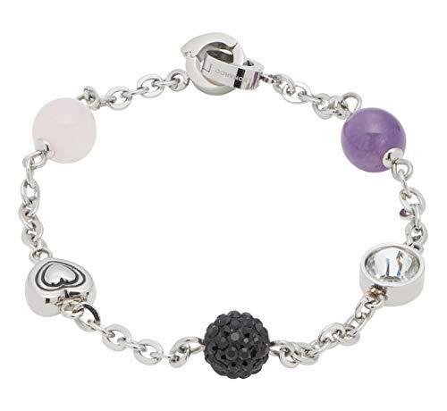 Jewels by Leonardo DARLIN'S Damen-Armband Senso 2, Edelstahl mit 5 verschiedenen Perlen und Glas-Steinen, Clip & Mix System, Länge 185 mm, 016673