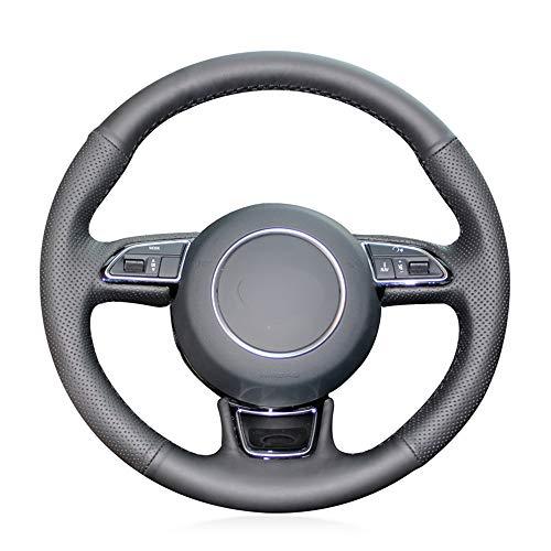 Preisvergleich Produktbild SLONGK Für Audi A1 8X A3 8V Sportback A4 B8 Avant A5 8T A6 C7 A7 G8 A8 D4 Q3 8U Q5 8R,  Schwarz Original Leder Autolenkradabdeckung