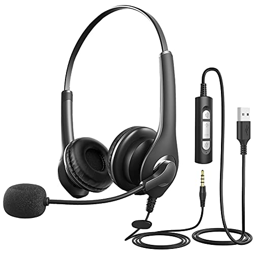 MILFECHPC Headset mit Mikrofon, USB Headset / 3,5mm Headset Computer mit Noise Cancelling & Lautstärkeregler, Business Headset für Skype, Webinar, Homeoffice, Call Center, Super Leicht, Ultra Komfort