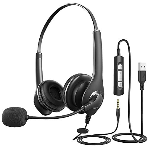 Milfech?PC Headset mit Mikrofon, USB Headset, 3,5mm Headset Computer mit Noise Cancelling & Lautstärkeregler, Business Headset für Skype, Webinar, Homeoffice, Call Center, Super Leicht, Ultra Komfort