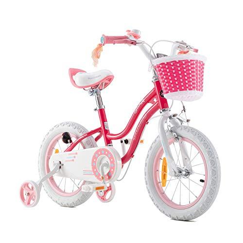 RoyalBaby Kinderfahrrad Mädchen Stargirl Fahrrad Stützräder Laufrad Kinder Fahrrad 14 Zoll Rosa