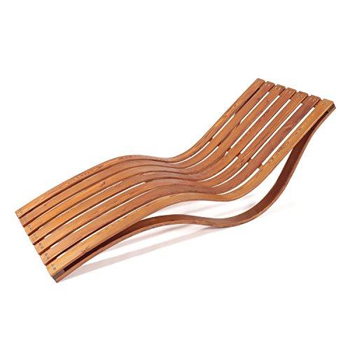 Ampel 24 Wellnessliege Capri, Gartenliege ergonomisch geschwungen, stabile Relaxliege für Garten und Sauna, wetterfeste Gartenmöbel aus Holz