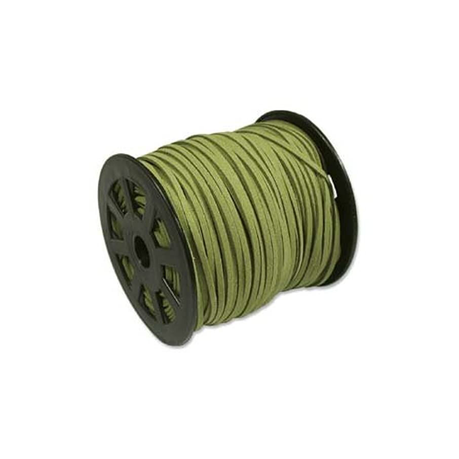Olive Green Faux Leather Suede Ultra Microfiber Beading Cord - Bulk Spool 100 Yd (300 Ft)