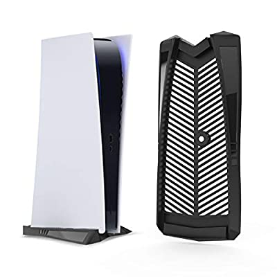 PS5 Vertical Stand for Playstation 5 with Built-in Cooling Vents and Non-Slip Feet, Specially Designed for Digital Edition(Black)