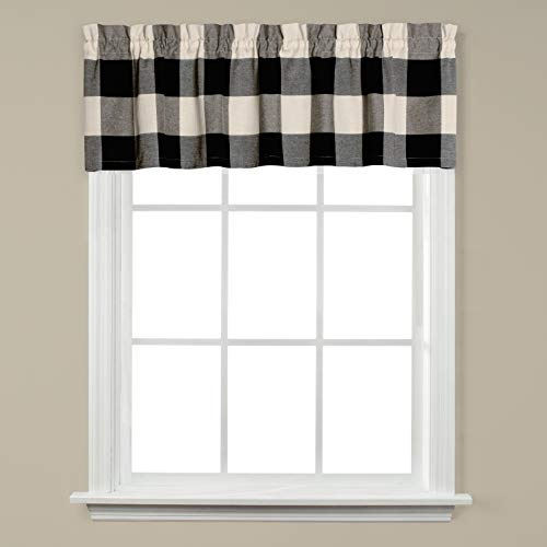 SKL HOME by Saturday Knight Ltd. Grandin 13 Inch Valance, 58 inches x, Black/Natural