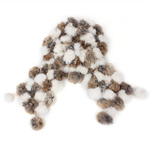 TOOGOO(R)) Neues Echtes Kaninchen Pelz Kragen Winter Weicher Ansatz Waermer Schal Verpackung - Weiss & Braun