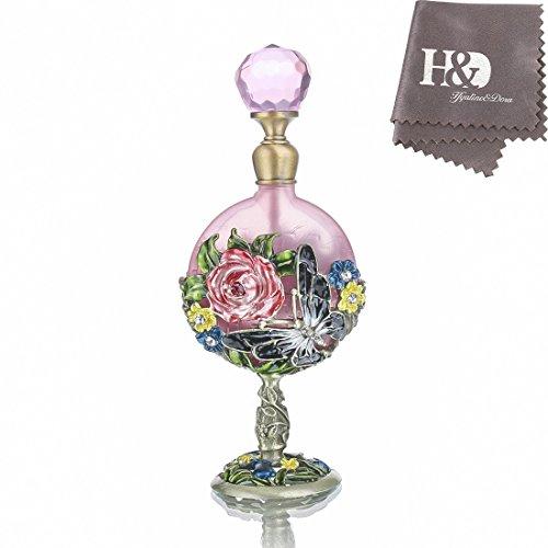 H&D - Botella de perfume, 7 ml, diseño de rosas