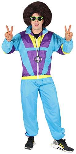 Bad Taste 80er Jahre Kostüm Trainingsanzug für Herren Jogginganzug - blau lila gelb - Größe S-XXXXL, Größe:XL