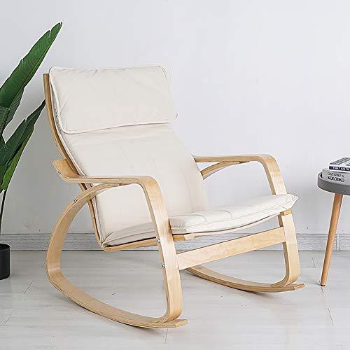 KTOL Stuhlauflagen Hochlehner-Auflage, Rocking Stuhl Sitzauflage Abnehmbare Reißverschluss Sitzkissen Terrasse Stuhlauflagen Mit Kissen Memory-Schaum Ohne Stuhl- Weißer Reis 135x56cm