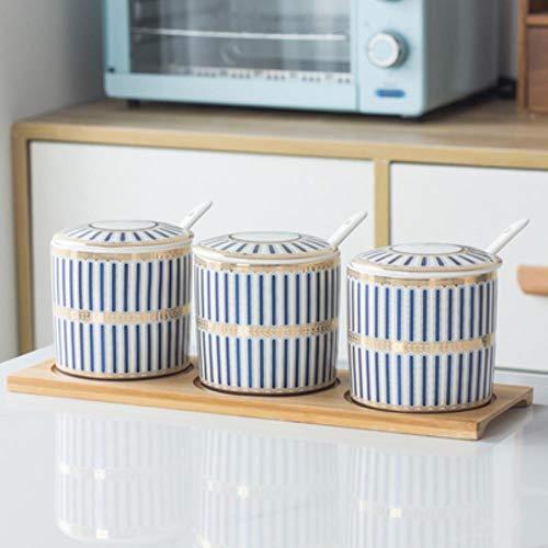 Salt Shaker Suikerpot voor Spice Opslag Container/Opslag Potten Keramische Kruiden Pot Home Kitchen Kruiden Tool, 3st-E