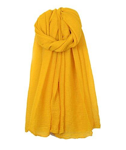 Cheerlife Damen Baumwolle Leinen Frühling Herbst Winter Schal Tuch Halstuch Einfarbig 180cm * 140CM Gelb
