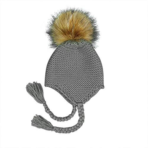 Milopon Bady Gorro Sombrero De Invierno Niño Niña Algodón Calientes Stricken Esquí Caps Gorro para Bebé Niños Nieve Invierno Gorro pompón (Gris)