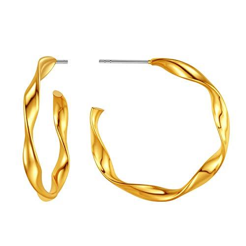 FindChic 30mm Twisted Hoop Earrings For Women Hypoallergenic 18k Gold Plated Gold Hoops Earrings Small Gold Hoops