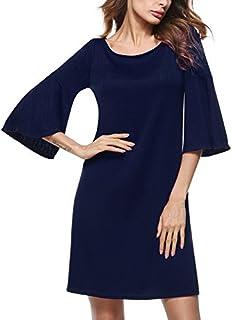 HOMEYEE Women's Scoop Neck Flare Sleeve Casual Dress T017