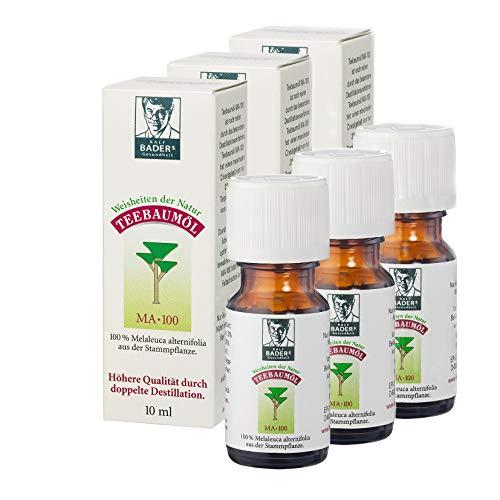 BADERs Teebaumöl. Der Klassiker aus der Apotheke. Doppelt destilliert. Desinfizierend. Australisches Melaleuca alternifolia. 3 x 10ml