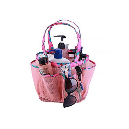 Totalizador de malla carrito de la ducha de mano portátil de mano Ducha de secado rápido bolsa de aseo del baño Organizador ducha grande espacio para los dormitorios, gimnasio, campo y viajes (rosa)
