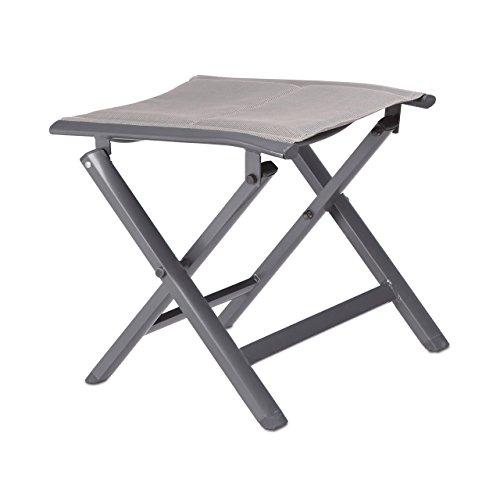Relaxdays Taburete Plegable para Camping, Tela y Aluminio, Beige, 41x48x41 cm