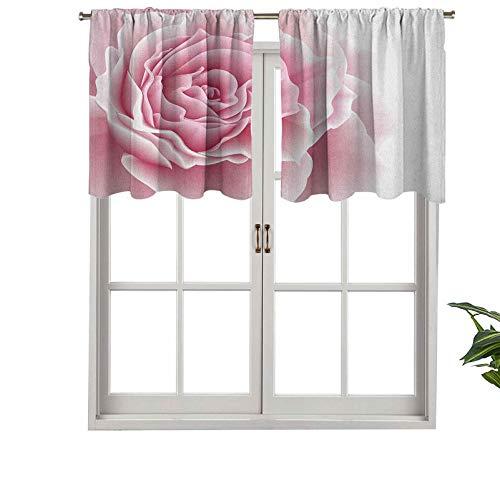 Hiiiman Cortina corta opaca con bolsillo para barra, romántico, pétalos de rosa, ramo de belleza, celebración, boda, juego de 1, 127 x 45 cm, cenefas pequeñas de media ventana para dormitorio