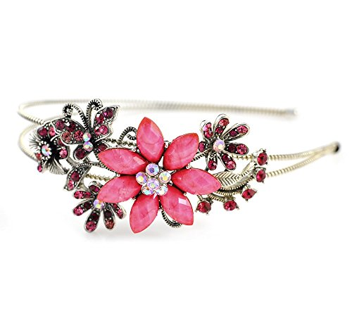 Unbekannt Strass Haarreif Hochzeit Blumenmädchen Haar Reifen mit Blumen Pink (HR001)