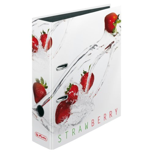Herlitz 11305984 Ordner max.file, Fresh Fruit Erdbeere, FSC Mix, CO2 neutral, A4, 8 cm