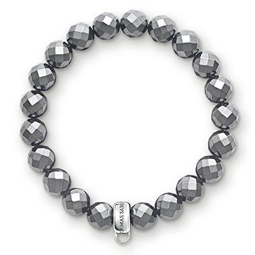 THOMAS SABO Damen-Armband Charm Club 925 Silber Hämatit 17.5 cm - X0187-064-11-L