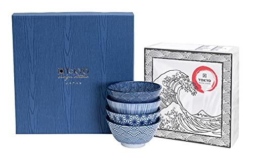 TOKYO design studio Nippon Blue 4-er Schalen-Set blau-weiß, Ø 12 cm, ca. 300 ml, asiatisches Porzellan, Japanisches Design mit geometrischen Mustern, inkl. Geschenk-Verpackung