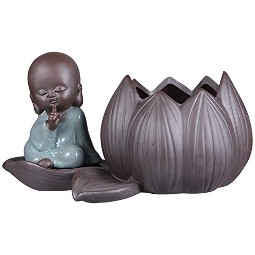 YARNOW Ceramic Zen Monk Lotus Flower Pot Garden Planters Hydroponic Planter Vase Plant Containers Pen Holder Cup Tabletop Buddha Statue for Home Indoor Outdoor
