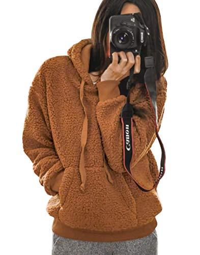 KIRUNDO 2019 Winter Women's Fleece Hoodies Sweatshirts Long Sleeves Shaggy Pullovers with Pockets Short Tops (Medium, Khaki)