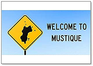 Welcome to Mustique with Map on Road Sign Illustration Fridge Magnet