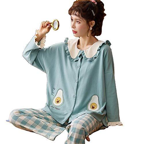 ZXXFR Damen Schlafanzug Zweiteilige Langarmhose mit Reversdruck aus Baumwolle, blau,...