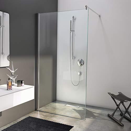 BIJON Duschwand Glas 80 x 200 cm Duschabtrennung Glas 8 mm ESG Duschtrennwand, Duschglaswand, Glaswand-Dusche Walk-in Dusche, Glastrennwand, Nano - Lotuseffekt, M1