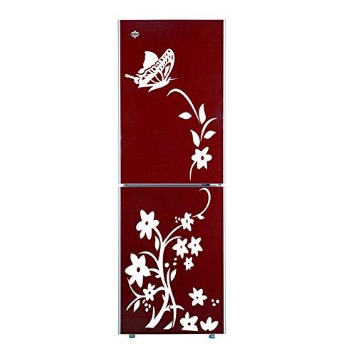 Demiawaking, adesivo da parete in PVC, con motivo con fiore e farfalla, in canna d'India, rimovibile per parete e frigo, nero e bianco White