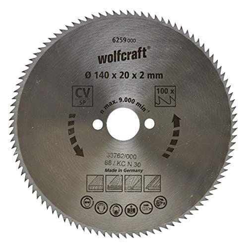 Wolfcraft 6259000 6259000-1 Hoja de Sierra Circular CV, 100 dient, Serie Azul diam. 140 x 20 x 2 mm, 140x20x2mm
