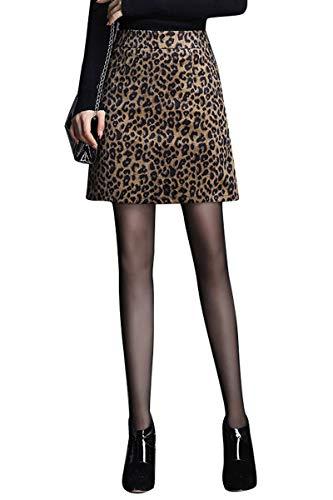 Damen Minirock mit Leopardenmuster Bleistiftrock hoher Taille A-Linien-Rock EIN-Schritt Rock für Herbst/Winter M