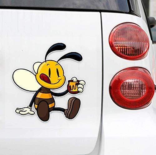 Lustiger Autoaufkleber Schöne gierige Biene Automobile Motorräder Kühlschrank Schreibtisch Laptop Dekoration Cartoon PVC Aufkleber, 13cm * 12cm