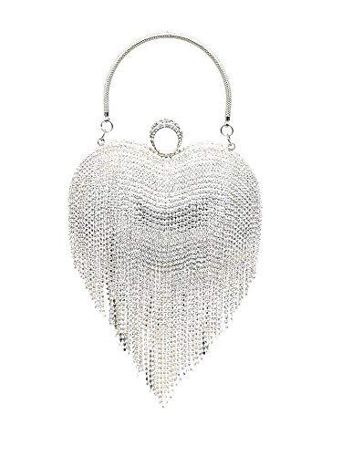UMREN Women Luxury Heart Shape Tassel Evening Clutch Bag Rhinestones Wedding Party Purse Handbag Silver 1