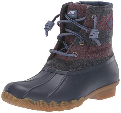 Sperry Girls' Saltwater Boot Ankle, Navy/Maroon, 1 M US Little Kid
