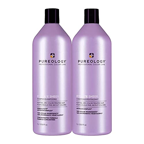 Pureology Hydrate Sheer Moisturizing Shampoo & Conditioner Bundle   For Color Treated Hair   Sulfate-Free   Vegan   Updated Packaging   33.8 Fl. Oz.