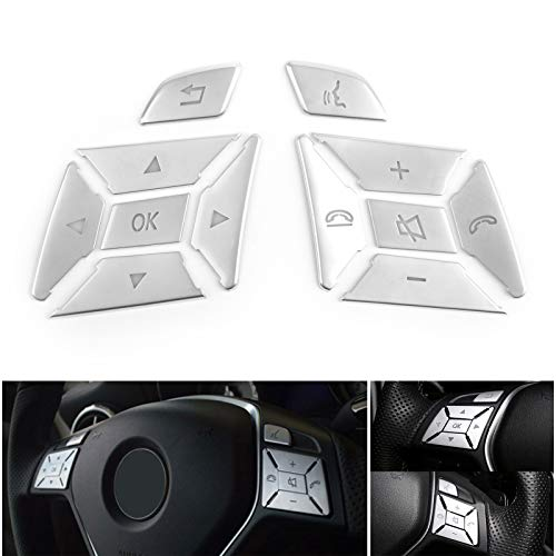 Areyourshop Steering Wheel Button Silver Trim for E C G Class W204 2012-2016