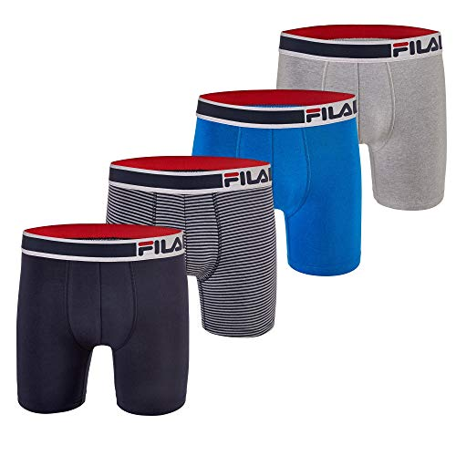 Fila Men's 6' Boxer Brief No Fly Front with Pouch, 4-Pack of 6 Inch Tagless Underwear