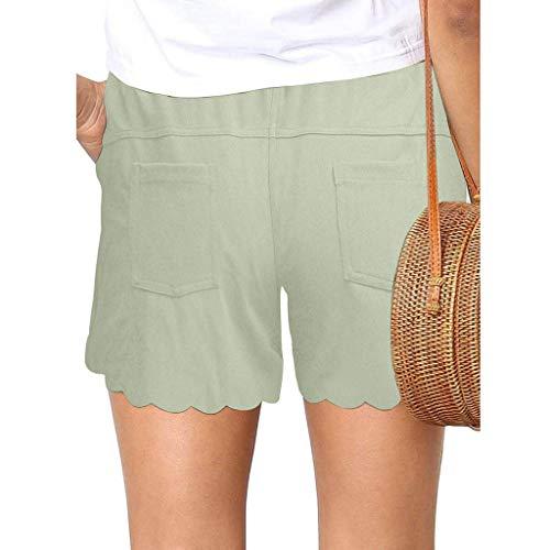 Xniral Damen Shorts Einfarbig Sommer Lose Kurze Hosen Mittlere Taille mit Kordelzug Hotpants Spleißen Beiläufige Breites Bein Kurze Hosen(b-Grün,M)