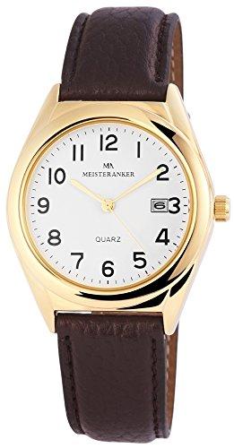 Reloj De Hombre Reloj Color Blanco Correa de piel sintética 24cm marrón hebilla ma01.908.6297