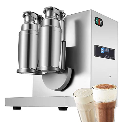 Happybuy 110V Electric Milk Tea Shaker Machine 120W 400r/min Stainless Steel Double-Cup Auto for Restaurant Coffee Shop Food and Beverage Stores, 13.8' x 11.8' x 13.8', Sliver