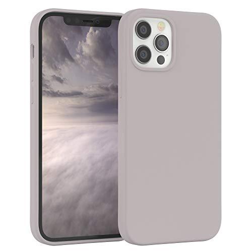 EAZY CASE Premium Silikon Handyhülle kompatibel mit iPhone 12/12 Pro, Slimcover mit Kameraschutz & Innenfutter, Silikonhülle, Schutzhülle, Bumper, Handy Hülle, Hülle, Softcase, Rosa Braun