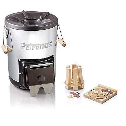 Petromax Raketenofen rf33 Outdoor-Kocher Starterset mit 10er-Set Feuerkit Anzündhilfe