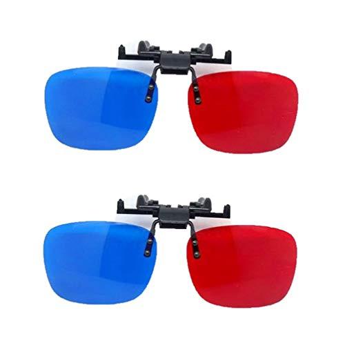 2パック3Dメガネ、効果は優れた赤青3Dアイウェアクリップ、ウォッシャブルゴーグル、赤と青のモードで、3Dのごちそうを楽しむことができます。