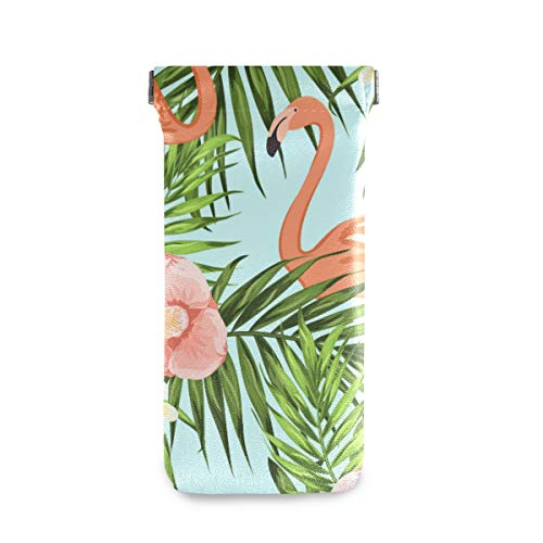 XiangHeFu Funda para gafas Funda para gafas de sol Flamingo Tropical Jungle Funda para gafas de viaje portátil multiusos