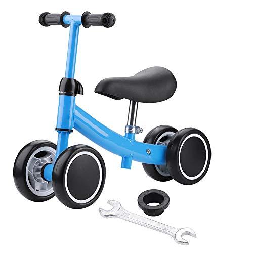 TAKE FANS Bicicleta de equilibrio para bebé, para niños, ajustable, para niños de 1 año, sin pedal de 4 ruedas, regalo de primer cumpleaños (azul)